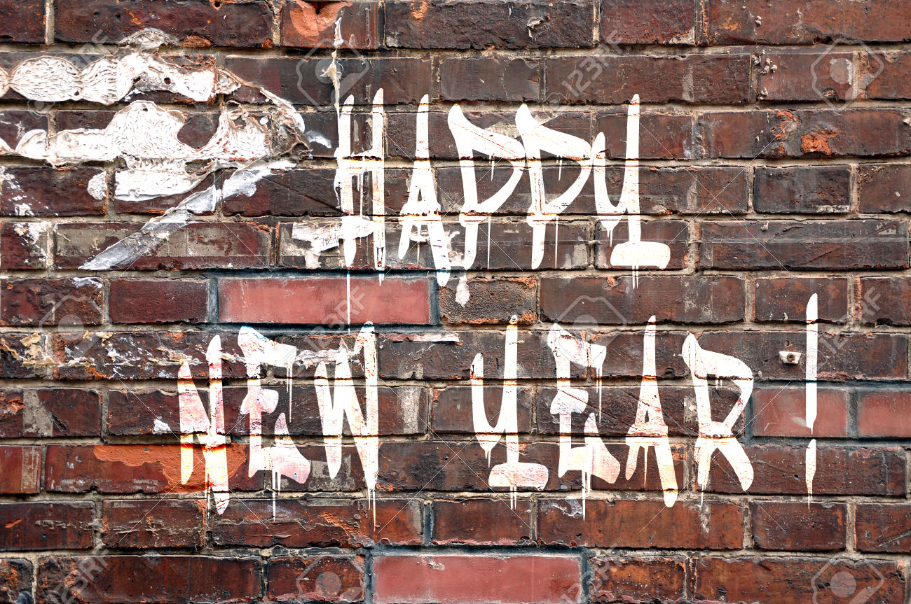 Happy new Year on a brick wall, street-art style